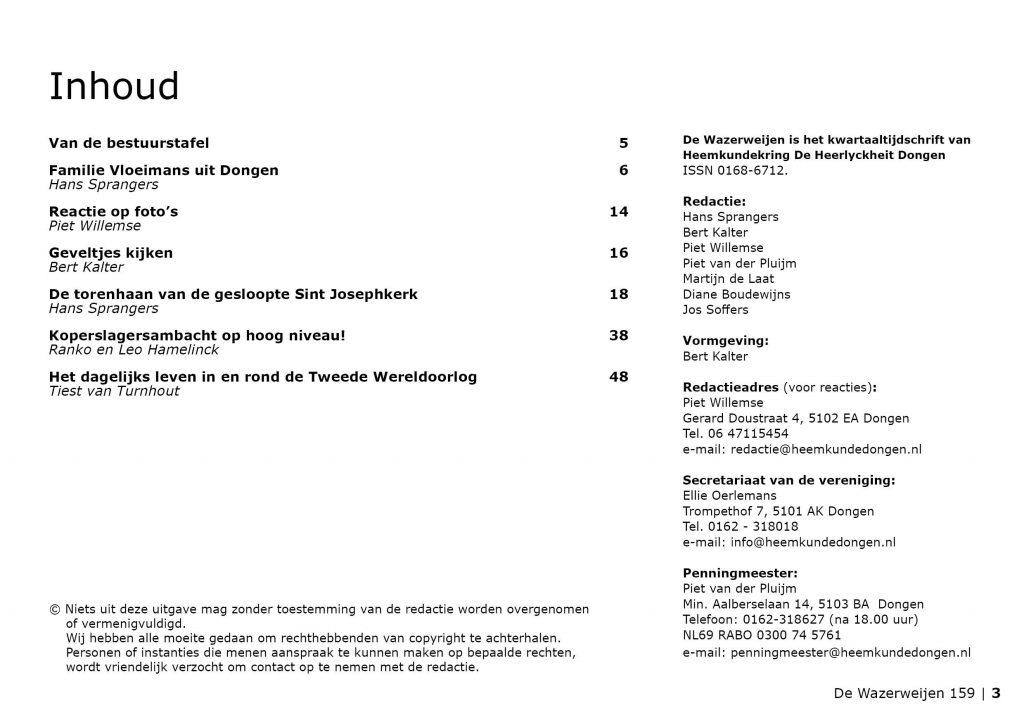 Wazerweijen 159 inhoudsopgave